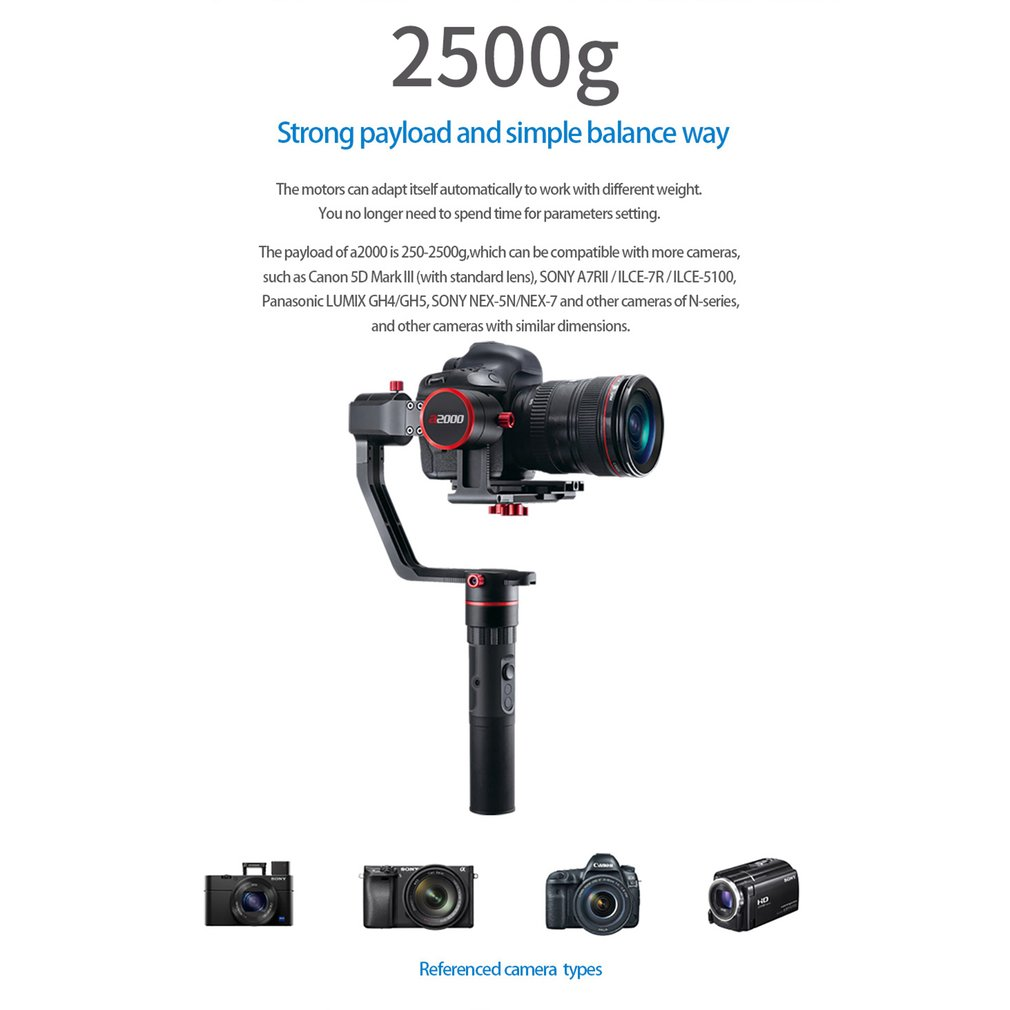 FeiyuTech A2000 3-Axis Gimbal Selfie DSLR Camera Dual Handheld Stabilizer for Canon 5D SONY SONY Panasonic HOT! feiyu a2000 3 axis gimbal steadicam dslr camera dual handheld stabilizer for grip voor canon 5d sony panasonic 2000g