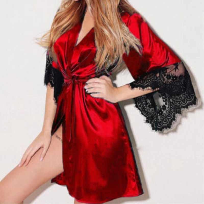 Szie S-XL 女性のセクシーな黒、白、赤寝間着レースのサテンベビードールローブ女性のセクシーなナイトドレス