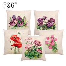 Watercolor Plant Cushion Cover Bluebells Geranium Cordage Car Chrysanthemum Bouquet Printed Pattern Sofa Throw Pillowcase