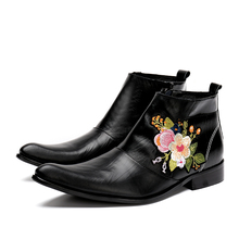 bota masculina elegant floral embroider black pointy male dress ankle boots chelsea men low heel work man
