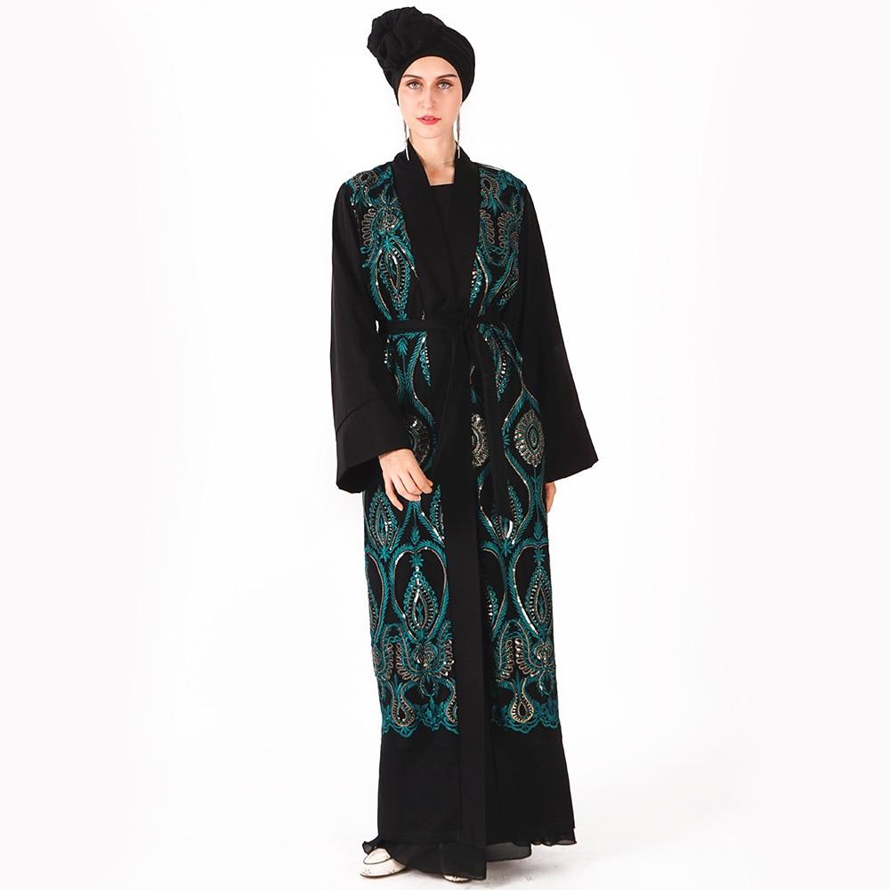 2019 été Abaya Dubai musulman moyen-orient robes de luxe avec des paillettes de soie brodé lâche à la peau ouverte vêtements pour femmes