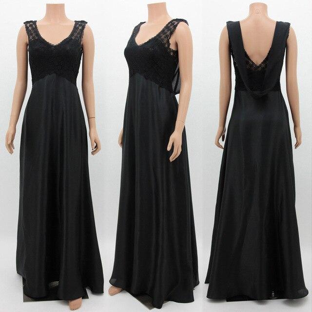 Черное вечернее платье 2018 Новая Элегантная линия V образным вырезом спинки Длинные Формальные платья для вечеринок Сексуальная спинки