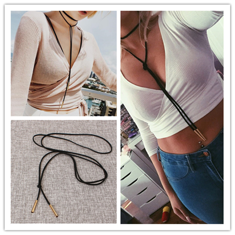 X18 Fashion Jewelry Black Leather Choker Necklace Long Tassel Gold Color Pendant Necklace For Women Punk Style Wholesale Selling