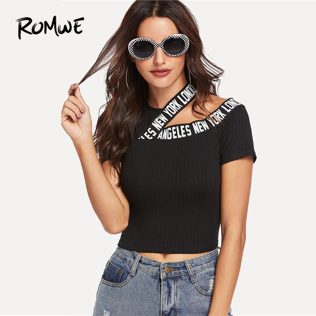 612f948f204 ROMWE Asymmetric Cutout Lettering Tee 2019 Summer Sexy Chic Black Slim Fit  Short Sleeve Women Clothes