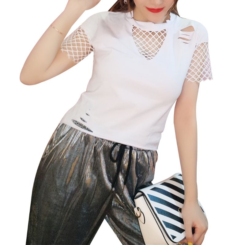 Womens Summer Short Sleeve Pullover Crop Top Sexy Fishnet Mesh Patchwork T-Shirt Hollow Out Ripped Decor Loose Blouse Vintage
