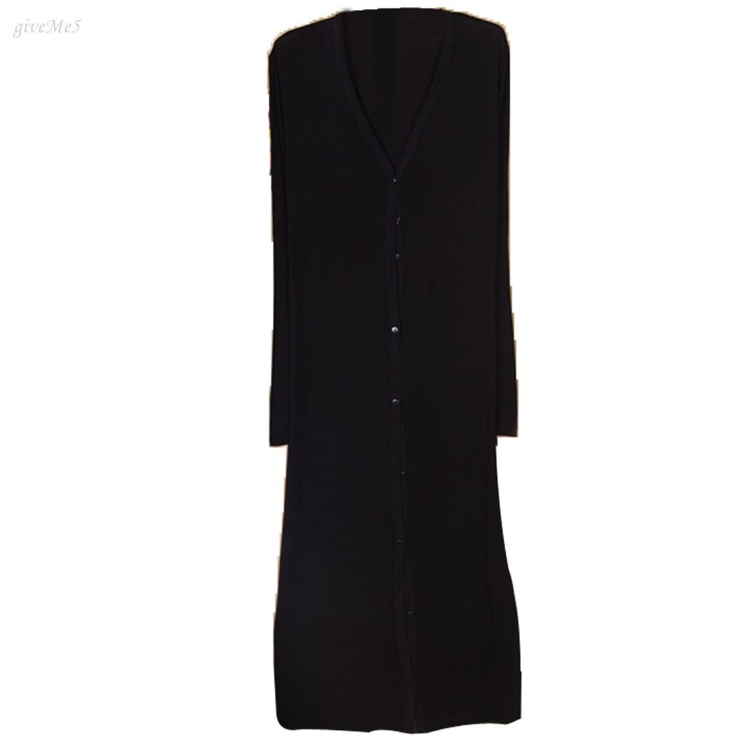 Envío de Las Mujeres Maxi Largo Cardigan Botón Prendas de Punto femenino Suéter