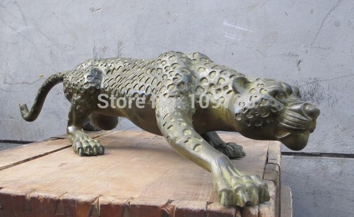 001189 28 Chinois Folk Classique bronze travail manuel sculpté Léopard sauvage animal statue - 1