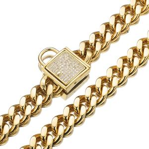 """Image 3 - 12 32"""" Fashion Stainless Steel Silver Color/Gold Cuban Curb Link Training Choke Chain Pet Dog Collar With Crystal Lock Clasp"""