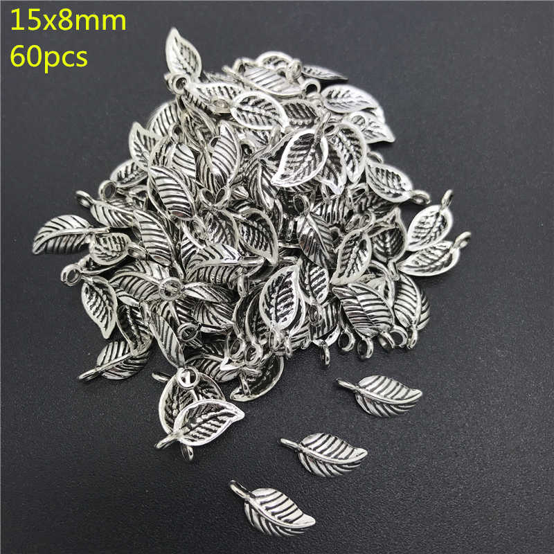 8x15mm 60pcs Alloy Beads Cap Ancient Silver Charms Leaves Shape Pendant Charms For Jewelry Making DIY Accessories PJ021