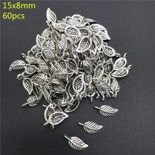 60 pçs liga contas tampa antiga prata encantos folhas forma pingente encantos para fazer jóias diy acessórios pj021