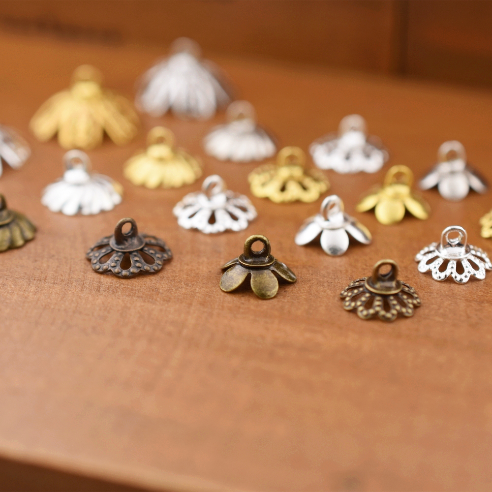 50pieces 8.5mm 10mm 15mm flower beads cap pendant connector jewelry acc