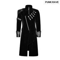 Рок вельвет из искусственной кожи Для мужчин пальто Готический по колено зимние длинные черные куртки мода двубортный плащ Панк RAVE Y 811