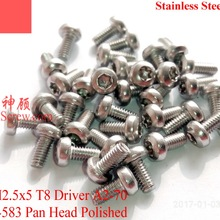 ISO 14583 Stainless Steel Screws M2.5x5 Pan Head Torx T8 A2-70 Polished ROHS 100 pcs