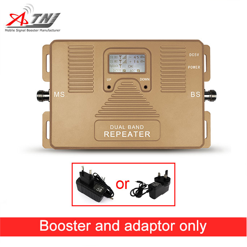 Hot Sale! Dual Band 2G 3G 900/2100MHz Mobile Signal Booster Phone Repeater Only Booster + Adapter With LCD Display