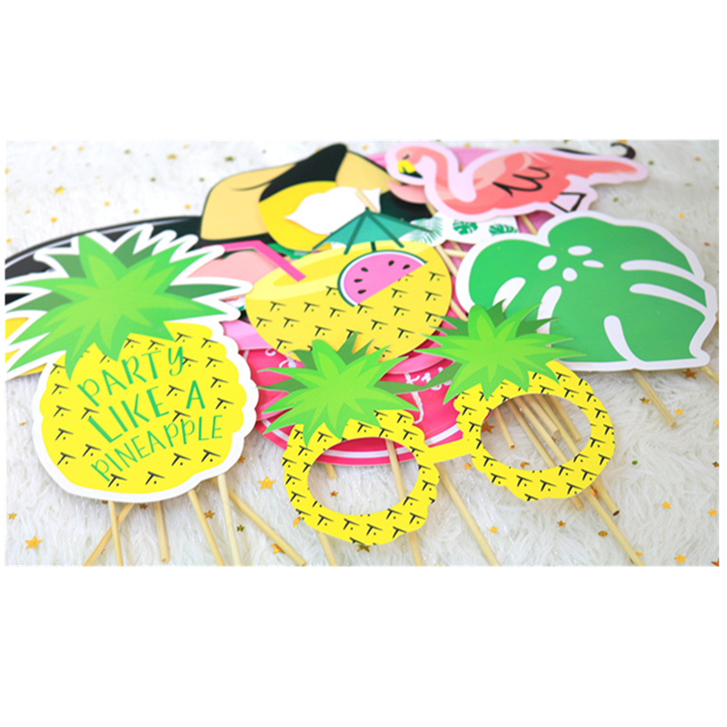 20PC Flamingo Pineapple Glasses Theme Photo Booth Props Holiday Bachelorette Beach Hawaii Party Birthday Summer Wedding Decor, B image