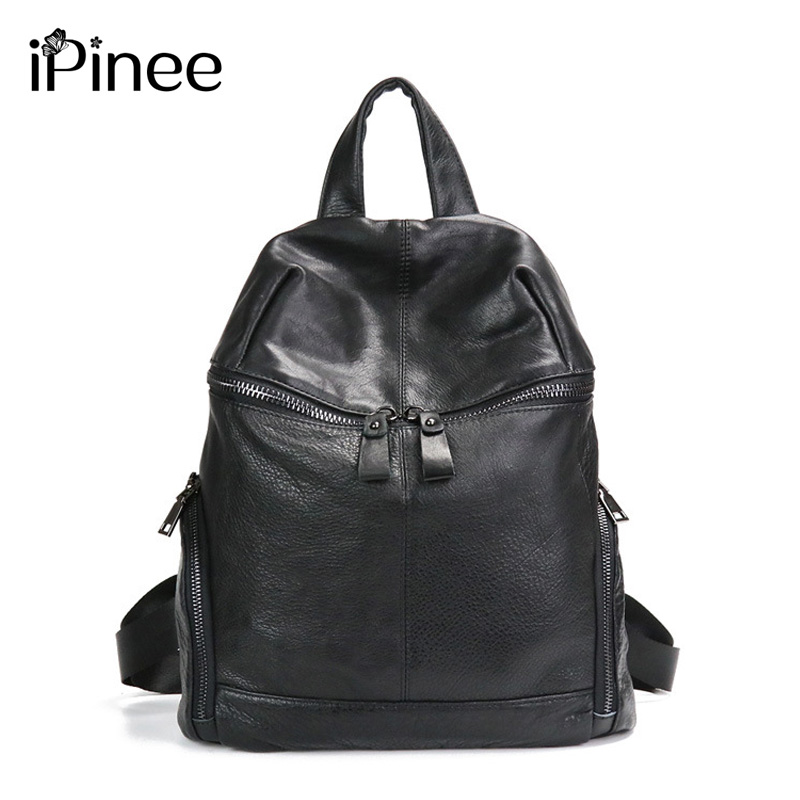 iPinee Fashion Designer Women Genuine Leather Backpack Shoulder School Bags for Teenagers Travel Cowhide Female Knapsack BackBag