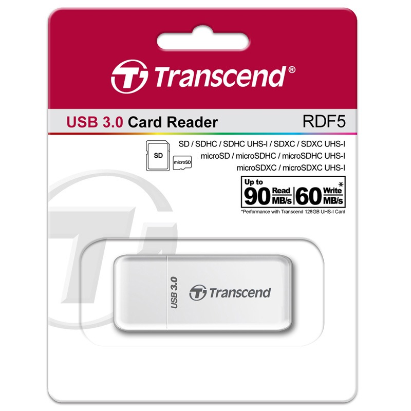 Transcend 2 in 1 High Speed USB 3.0 Card Reader Adapter For SDHC/ SDXC/ microSDHC/ microSDXC /UHS-I Card Adaptor up to 128GB