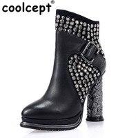 Coolcept Women Real Leather High Heel Boots Rivet Metal Buckle Alien Heels Boot Warm Fur Shoes