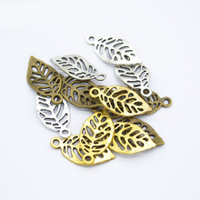 20Pcs 23*11mm Creative Charms Leaf Pendant for Diy Bracelet Necklace Earring Handmade Jewelry Accessories Mini Alloy Pendants