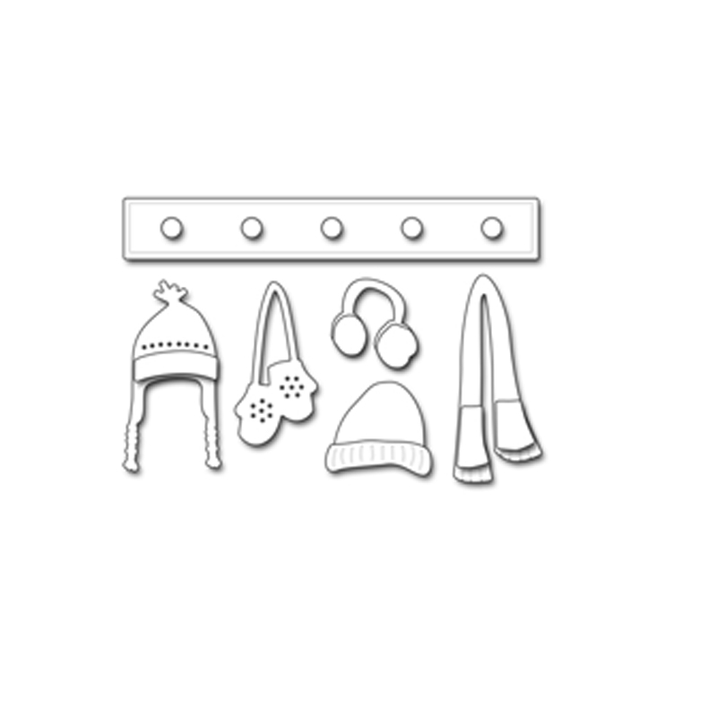 Winter Hat Scarf Glove Metal Cutting Dies Stencil For DIY Scrapbooking Decorative Embossing Suit Paper Card Die Cutting Template in Cutting Dies from Home Garden