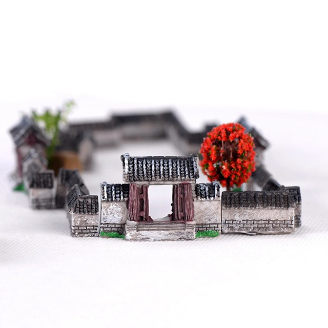 Ancient House Archway Micro Landscape Mini Old City Gate Resin DIY Decor Ornaments Crafts Fairy Garden Bonsai Home Decoration 6
