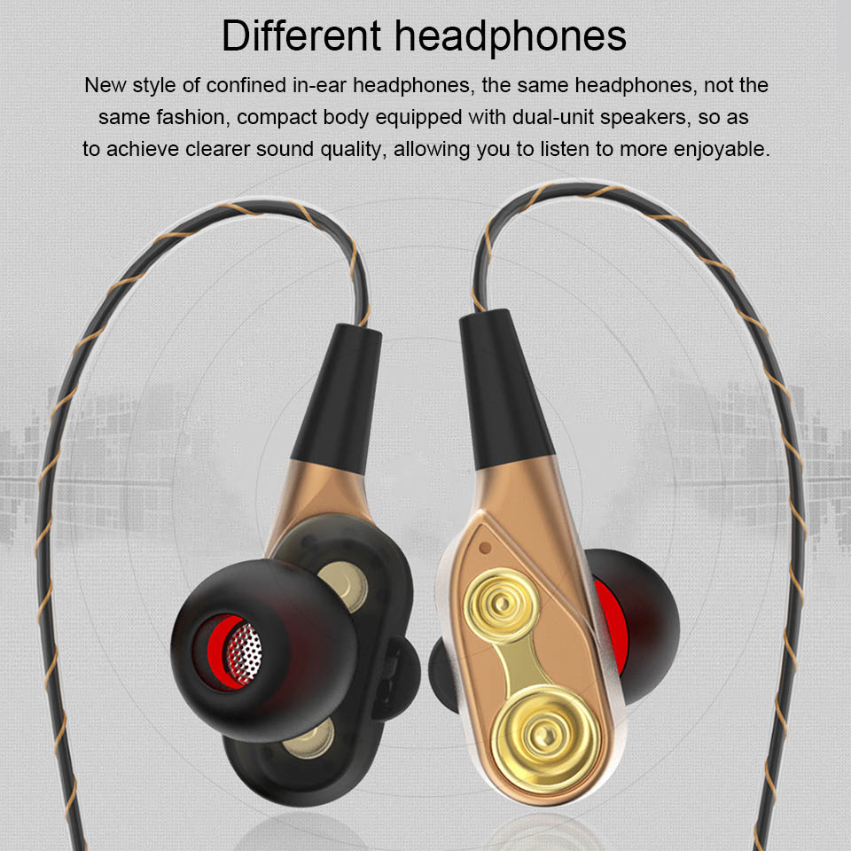 Double Unit Drive In Ear earphone Bass Subwoofer Stereo Earphones With Microphone Sport Running earbuds For Apple Phone Xiaomi