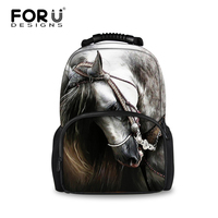 FORUDESIGNS Fashion Men Travel Backpack Crazy 3D Animal Horse Pattern Large Capacity School Backpacks For Boys