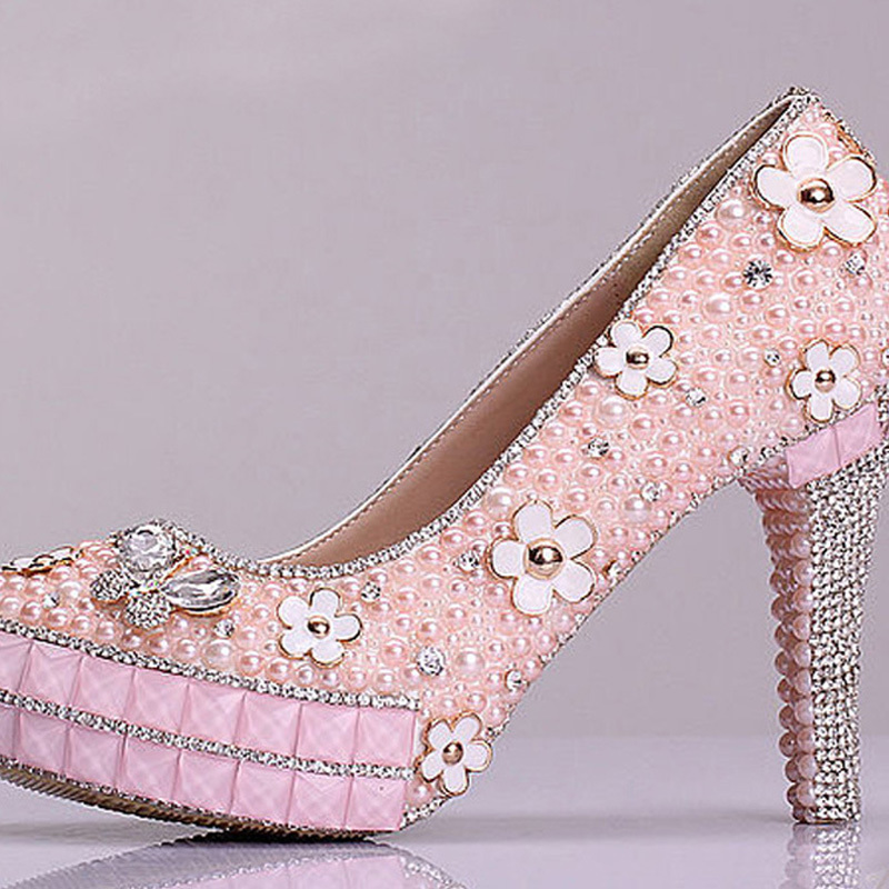 new design bridal shoes pink pearl rhinestone wedding shoes graduation sweetness prom shoes cheap bridesmaid shoes