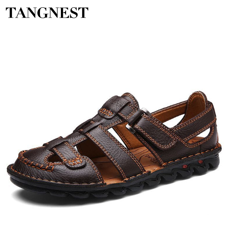 Tangnest Geniune Leather Casual Men Sandals Classic Hook Loop Mens Gladiators Soft Comfortable Men Flats Non-slip