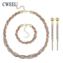 CWEEL Vintage Wedding Gold Plated 3 Color Necklace Set Statement Exaggerated Choker Bridal Ring Bracelet Earrings Accessories