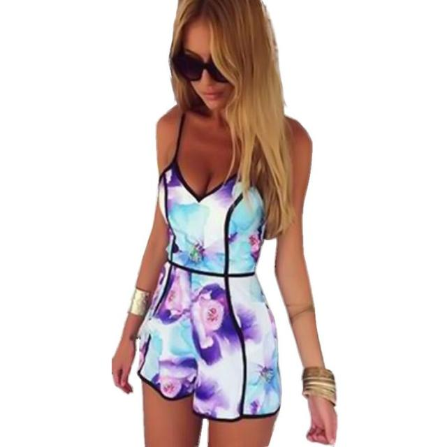 745d24216706 Women Jumpsuit Playsuit Rompers Cotton Polyester girl summer V-Neck Floral  Casual Sleeveless Jumpsuit Playsuit Rompers Trousers