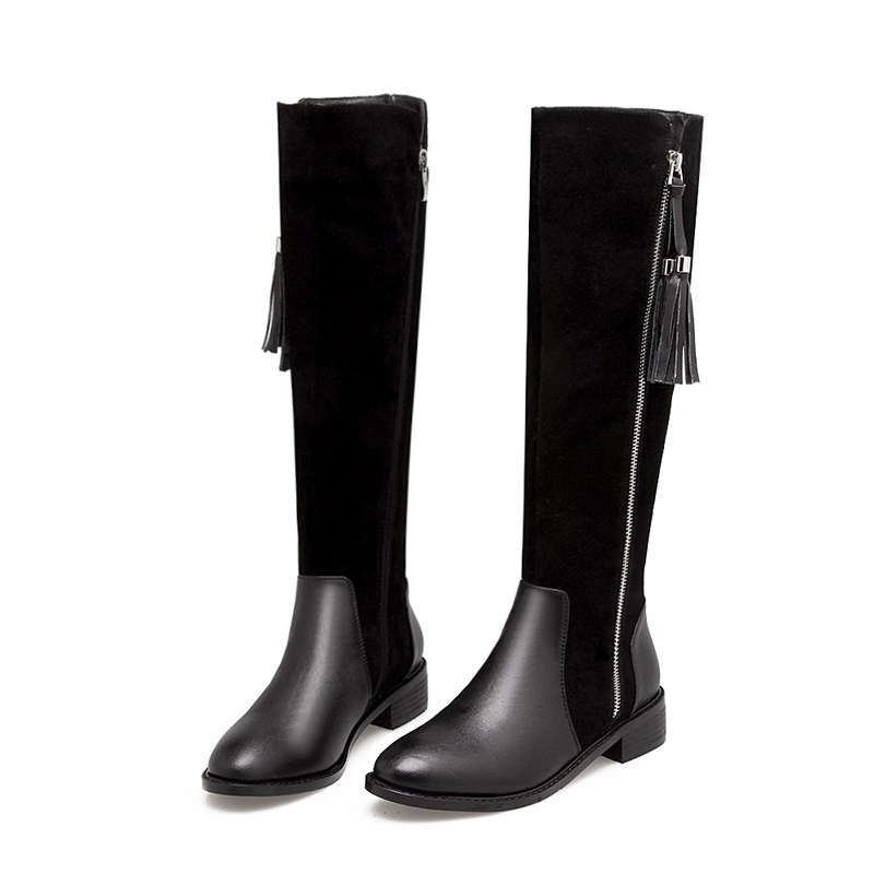 Genuine Leather Riding Boots Low Heels Fashion Women Warm Knee High Zip Boots Black Womens Boots Women High Knee Shoes 86284DZ цена и фото