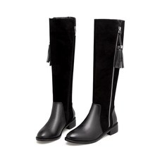Genuine Leather Riding Boots Low Heels Fashion Women Warm Knee High Zip Boots Black Womens Boots Women High Knee Shoes 86284DZ