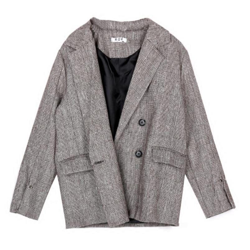 2018 Women Gray Plaid Office Lady Blazer Fashion Jackets Elegant Work Blazers Feminino