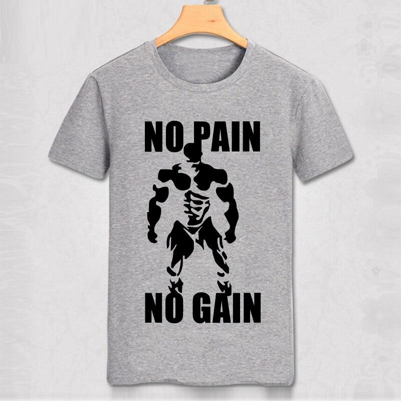 c0fad035d NO PAIN NO GAIN Cool Muscle Men T Shirt Slim Fit Cotton T-shirt Casual Man  Wear Clothes