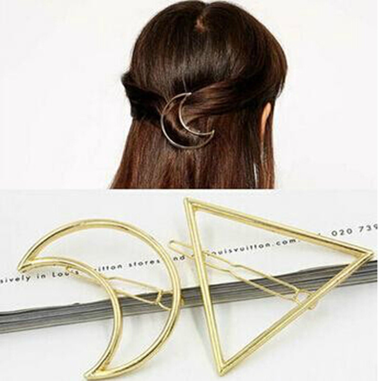 2016 Simple Fashion Women Gold Silver Metal Moon & Triangle Hair Clip Hairpin Bang Hair Pin Hair Jewelry Accessories For Girls