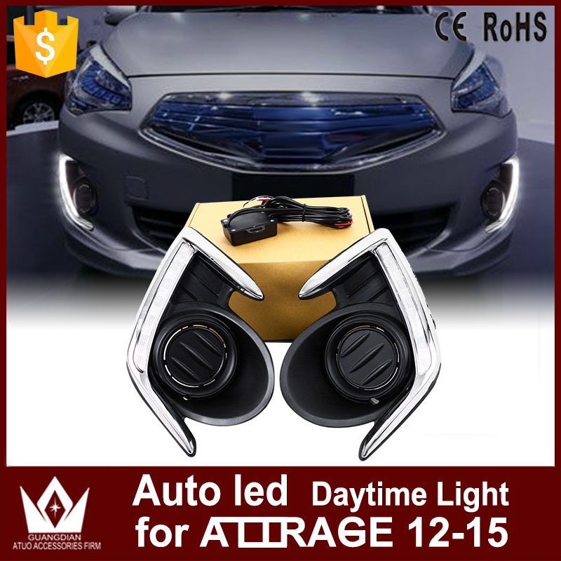 GuangDian 1Set Car Accessories Auto LED DRL Front Lamps White High Power Daytime Running Light For Mitsubishi Attrage 2012-2015 qvvcev 2pcs new car led fog lamps 60w 9005 hb3 auto foglight drl headlight daytime running light lamp bulb pure white dc12v