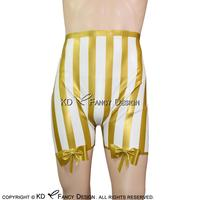 White With Golden Trims Sexy Latex Boxer Short With Bows And Stripes Rubber Underwears Underpants DK 0086