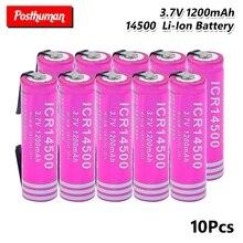 14500 Li-ion 3,7 V 1200mAh литий-ионная аккумуляторная батарея 30A разряда для электронных сигарет батареи+ DIY никелевые листы для фонарика