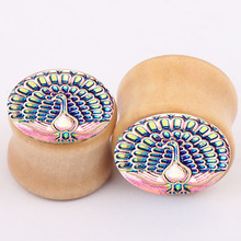 peacock fashion earrings plugs and tunnels piercing jewelry real septum rings for women dilataciones oreja wood Stretcher Gauges