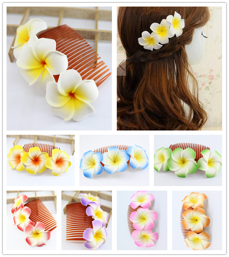 50pcs 12cm length 9 kinds of color you choose Fabulous Hawaii Plumeria flowers Foam Frangipani Flower comb bridal hair clip