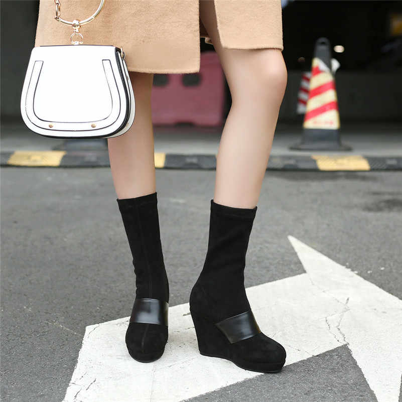 FEDONAS 1 Moda Kadın Orta Buzağı Botları Sonbahar Kış Sıcak Süet Deri Takozlar Yüksek Topuklu Ayakkabılar Kadın Yuvarlak Ayak parti Temel Botları
