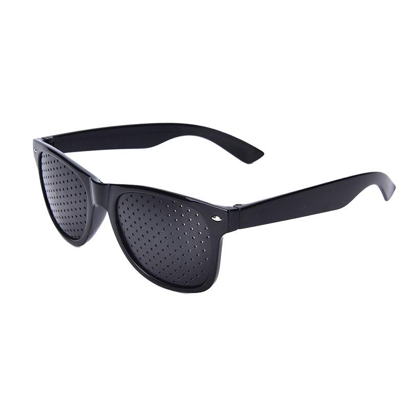 Black Unisex Vision Care Pin hole Eyeglasses Glasses Eye Exercise Eyesight Improve plastic