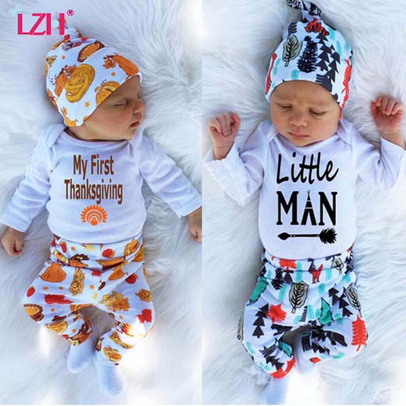 LZH 2017 Autumn Winter Newborn Baby Boys Clothes Set My