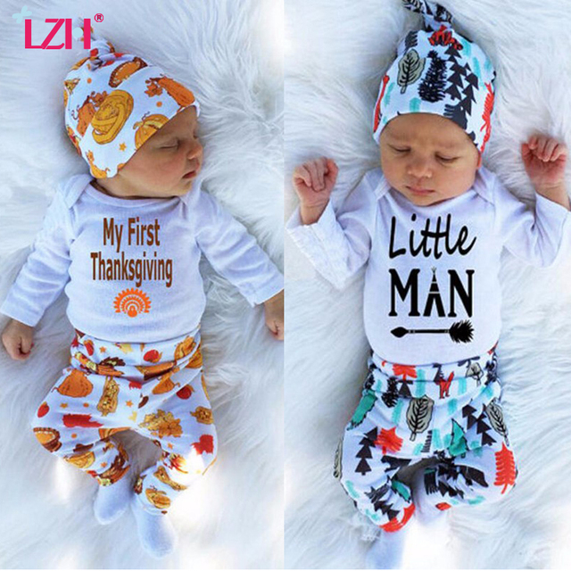 bca8cab7c LZH 2018 Autumn Winter Newborn Baby Boys Clothes Set My First Thanksgiving  Outfit Romper+Pant+Hat Sets Baby Suit Infant Clothing