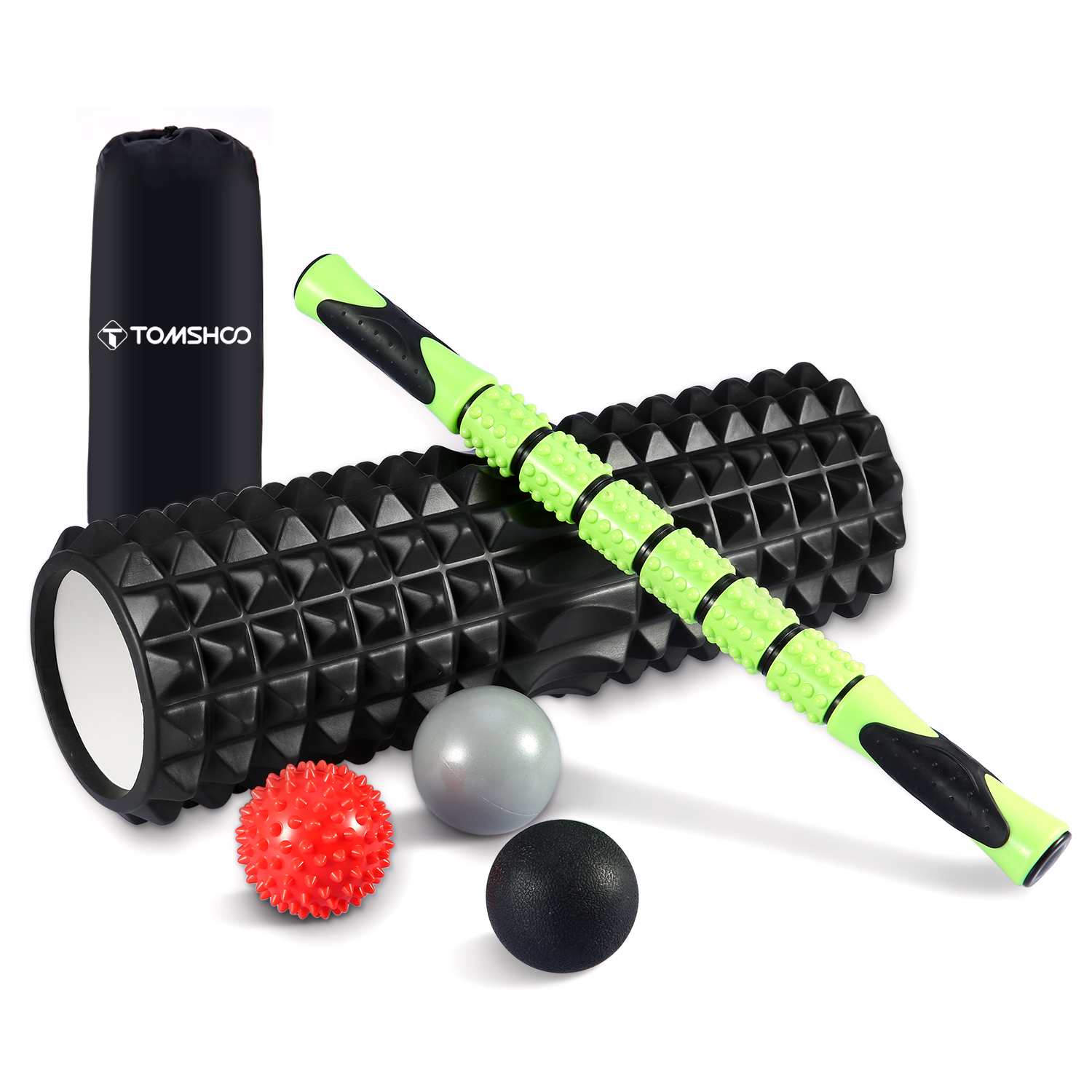 TOMSHOO 6-in-1 Fitness Massage Roller Kit 18 Large Foam Muscle Roller Stick 3 Massage Balls Deep Tissue Back Physical Therapy 30cm 15cm electric vibration eva foam roller floating point fitness massage roller 3 speed adjustable for physical therapy
