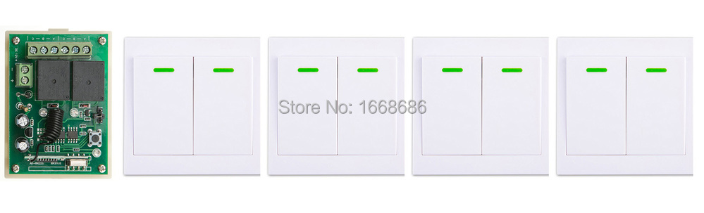 DC12V 2CH Wireless Remote Control Switch 1*Receiver + 4*Wall Panel Remote Transmitters Sticky Remote Appliances Gate Garage Door black 2key 85v 110v 250v 1ch wireless remote control switch 1 receiver 4 transmitters for appliances gate garage door