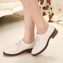 small plus size 34.43 women single oxford shoes lady round toe lacing-up shoes student casual shoe young girl simple flat shoes