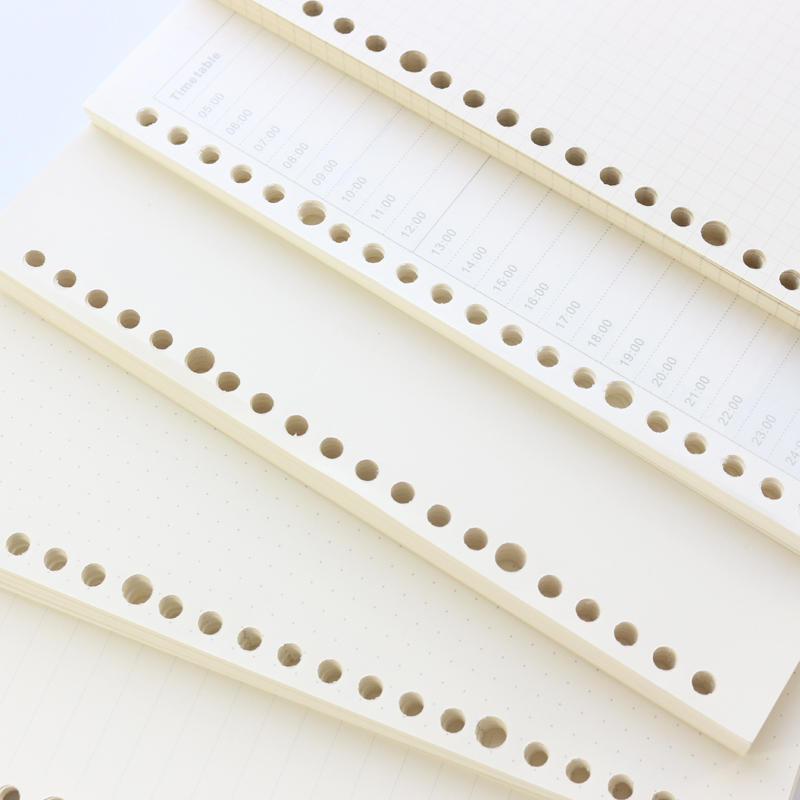 Domikee Classic Basic 20 Holes Filler Inner Papers Core For School Composition Spiral Notebooks Stationery,A5,60 Sheets