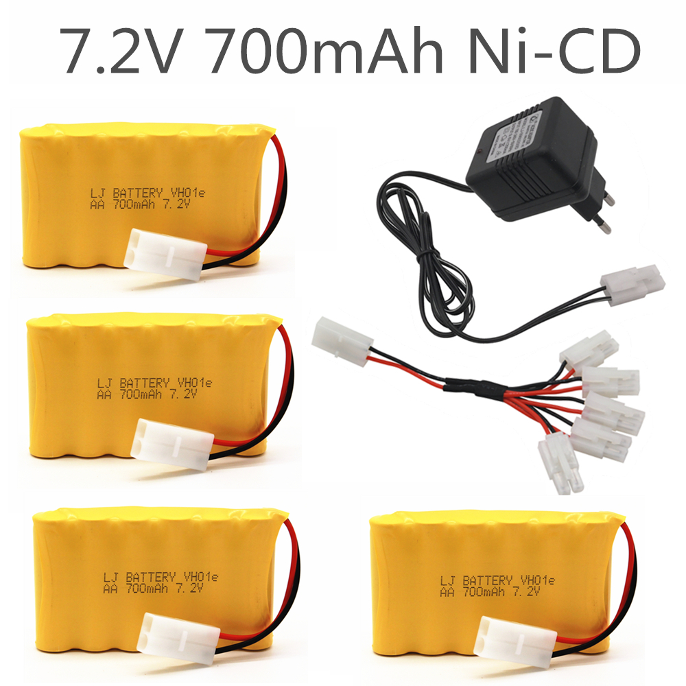 7.2v 700mah <font><b>AA</b></font> NI-CD <font><b>Battery</b></font> With 7.2v <font><b>Charger</b></font> <font><b>Set</b></font> For Electric toys car Telerobot boat Remote control Tank L6.2-2P Plug image